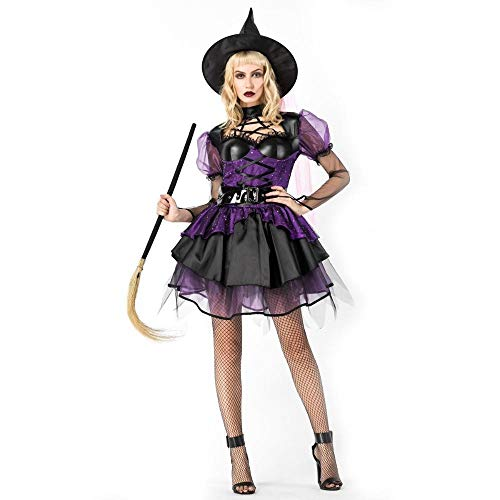 Shisky Halloween kostüm Damen, Lila dunkel Hexe Hexe Kostüm Halloween Rolle Spielen Hexe Outfit Bühne ()