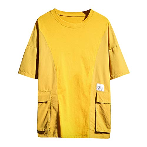 TEBAISE T-Shirts Herren Hip-Hop Coole Shirts Crew Neck Tops 2019 B Harajuku STYL Einfarbig Sweatshirts Streetwear Stil Tee Rapper Kurzarm Shirt Harajuku Oversized Kleidung Straße Stil