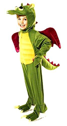 erdbeerloft -Exclusives Kinder Drachen Overall Kostüm- Plüschkostüm Tierkostüm, grün lila, 7-8 (Kostüm Für Antarktis Kinder)