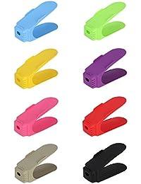 OUNONA Shoe Slots Adjustable Shoe Organizer Space Saver Shoe Storage Rack Holder - 8 Pieces
