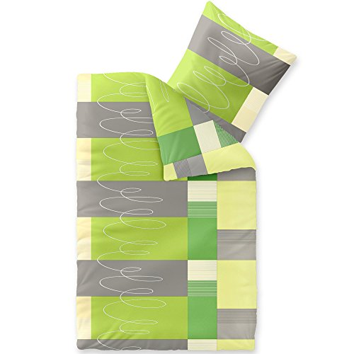 Bettwäsche 2tlg 155x220 Baumwolle Set Kopfkissen Bettbezug Reißverschluss atmungsaktiv Bett Garnitur 80x80 Kissen Bezug CelinaTex 5000413 Fashion Ellen grün grau beige