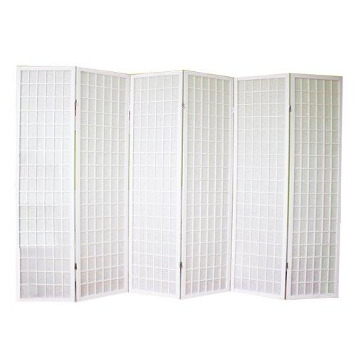 PEGANE Biombo japonés de madera blanco Shoji de 6 paneles