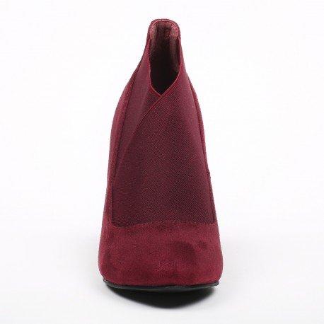 Ideal Shoes - Bottines effet daim avec élastique Kenza Rouge