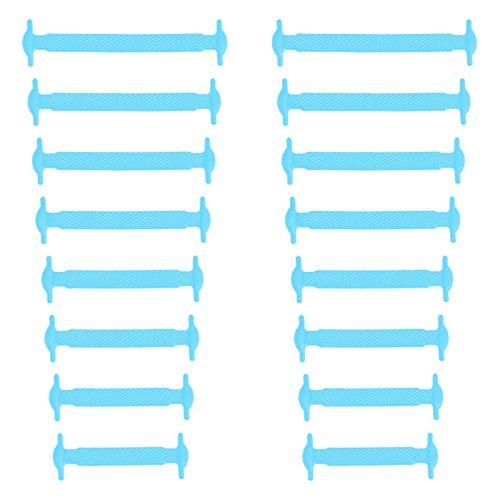 Xunits Elastische Silikon Schnürsenkel hell-blau, flach Schleifenlose Schuhbänder in 13 (neon) für Kinder & Erwachsene