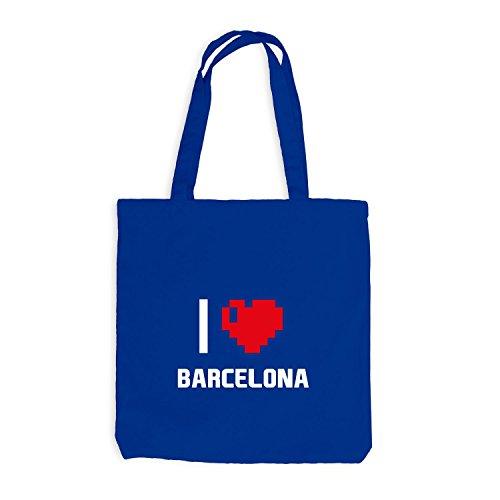 Jutebeutel - I Love Barcelona - Spanien Reisen Herz Heart Pixel Royalblau