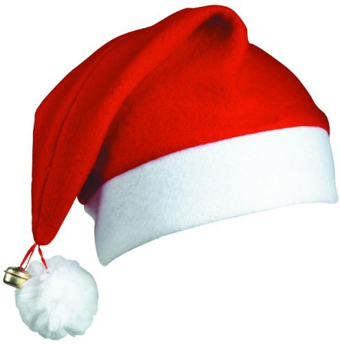 12 SANTA HATS - PACK OF 12 DELUXE CHRISTMAS SANTA CAPS WITH BELL