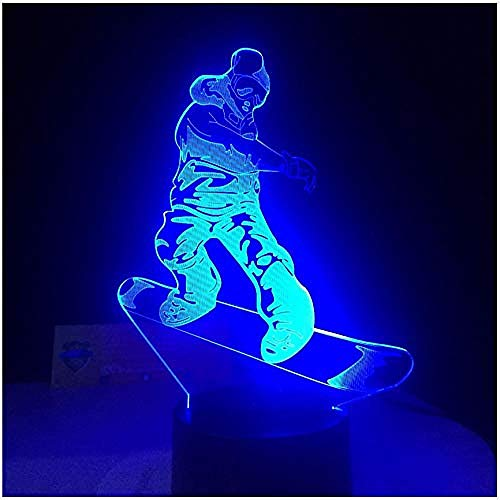Nachtlicht Fernbedienung Smart Touch Led Snowboard Lampe 7 Farbwechsel Licht 3D Illusion Nachtlampe Geschenke für den Sport