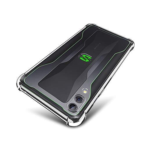 SLEO Coque pour Xiaomi Black Shark 2/2 Pro, Etui Silicone Gel[Transparent TPU][Ultra-Slim Flexible Souple][Quatre Coins Renforcé][Antichoc] Ultra Mince Soft Housse Coque de Protection-Crystal Clair