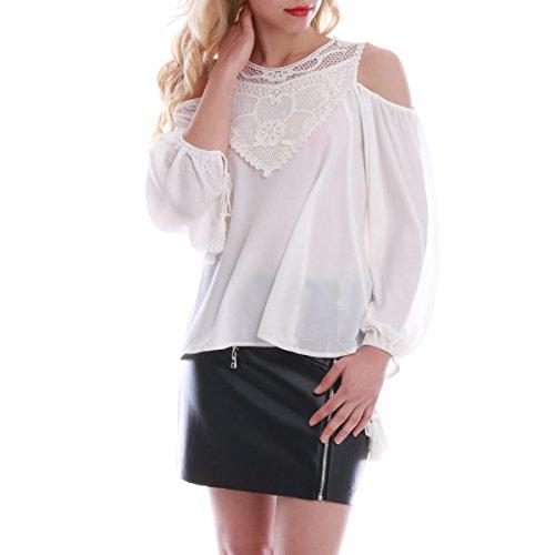 La Modeuse - Top femme style bardot à la coupe ample Blanc