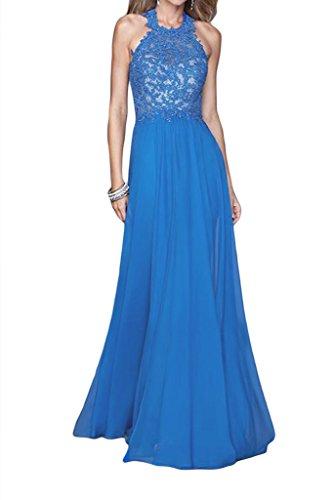 Promgirl House Damen 2015 Elegant A-Linie Neckholder Chiffon Spitze Abendkleider Ballkleider Lang Seeblau