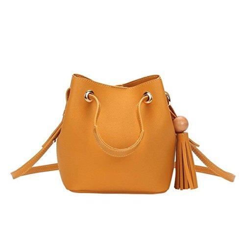 Mode Einfache Damen Tasche Pumpen Gürtel Eimer Umhängetasche Diagonalen Paket Tasche Yellow