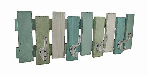 Blau, Weiß und Grün Distressed Finish Holz Wandhaken -
