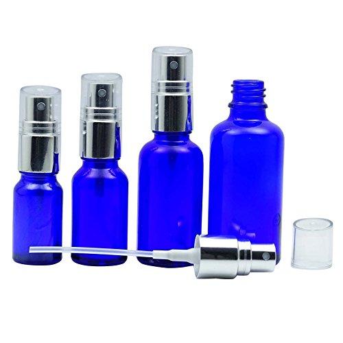 100 pièces vides bouteilles de pulvérisation Bleu Cobalt verre avec de l'argent atomiseur Cap bouteilles réutilisables d'huiles essentielles gros Boston Round bouteille de parfum 10 ML