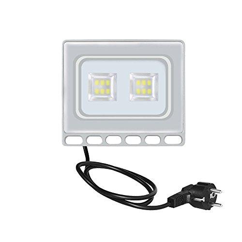 Fairyland & 50W LED Fluter 48X 2835 SMD Ultraslim LED Fluter mit Stecker Lampe Außen Strahler Licht IP65 120°5000lm Ideale Außenbeleuchtung für Garten, Garage oder Sportplatz [Energieklasse A++] (Warmweiß)