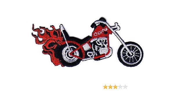 Aufnäher Bügelbild Aufbügler Iron On Patches Applikation Motorrad Flammen Chopper Tattoo Auto