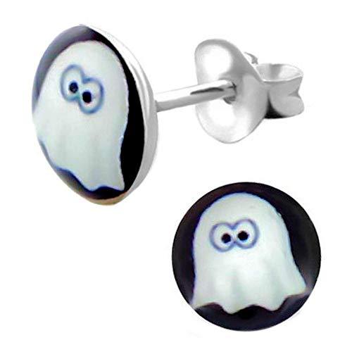 rringe Runde Pastille Muster Halloween Ghost Weißer Hintergrund Schwarz Sterling Silber 925 ()