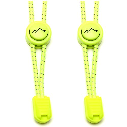 gipfelsport Elastische Schnürsenkel - Gummi Schnellschnürsystem ohne Binden | für Kinder, Herren, Damen I 1x Paar: neon-gelb