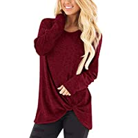 Rosennie Winter Autumn Blouse and Tops for Women Fashion Casual Loose Long Sleeve O Neck Casual Pure Color Shirts Elegant Daily Clothing Pullover Wine