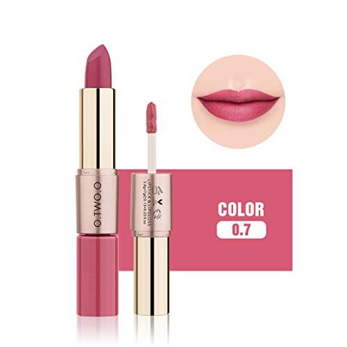TTLOVE Neue Mode Frauen 12 Farben Lippenstift 2 in 1 Samt Matt Lippenstifte Lipgloss,Double-End...
