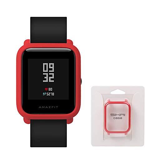 Auto Echo Protector de Pantalla para Xiaomi huami amazfit Bip Juvenil Smart Reloj Completa Funda Marco Delgado Reloj Funda Accesorios para Mujeres Hombres, Rojo