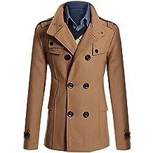 MISSMAO Uomo Classico Trench Cappotto di Lana Giacche Slim Fit Doppio Petto  Trench Cappotto 5ce9ff10f22b
