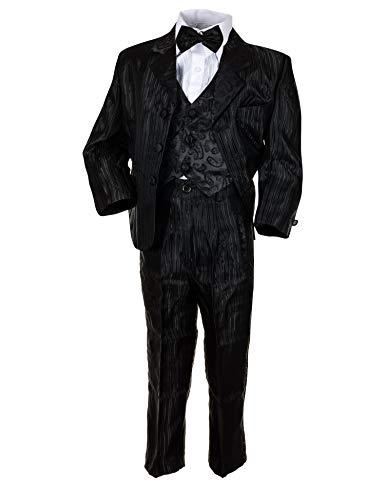 Festlicher 5tlg. Jungen Smoking Anzug mit Jacke Hose Weste Hemd Fliege Hochzeit M438Nsw Nadelstreifen Schwarz 4/110 / 116