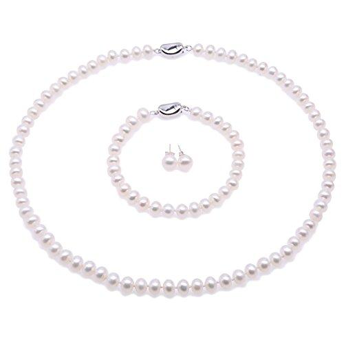 JYX Perlenkette weiß Suesswasser Perlenkette Perlen Damen Schmuck Set Schmuckset Silber 925 Damen- AA Weiße Süßwasserperlen Halskette, Armband und Ohrstecker Set pearl set - (7-8mm flache Runde Perle)