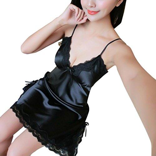 Damen Nachtwäsche FORH Frauen Sexy V-Ausschnitt Träger Nachthemd Slim Fit Satin Babydoll Negligee Reizvolle Spitze Wäsche Kleid Unterwäsche Pyjama (Schwarz, M) (Baumwolle-jeans Reichen)