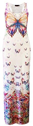 Verrückte Mädchen Womens Kim Kardashian Azteken Schmetterling Floral Print Racer Maxi Kleid (S/M-EU36/38, Butterfly Print (Crazy Dress)