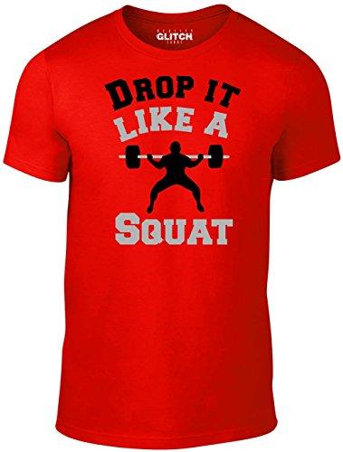 Reality Glitch Herren T-Shirt Drop It Like a Squat (Rot, X-Large) (Herren Drop T-shirt)