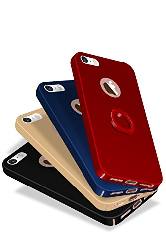 Coque iPhone5,Coque iPhone5S,Coque iPhone 5SE,Rouge, noir, bleu, or, or rose, couleur unie, style simple,PC Matière avec [Ultra Mince] [Ultra Léger] Anti-Rayures Anti-dérapante Coque ,+ 360° drehbarer A