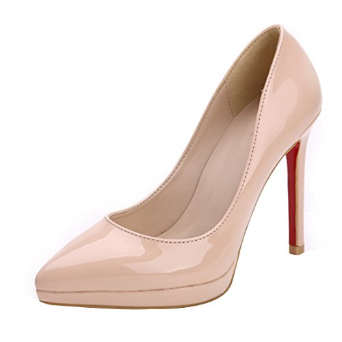 HooH Femmes Cuir Verni Platform Stiletto Escarpins-Noir-38