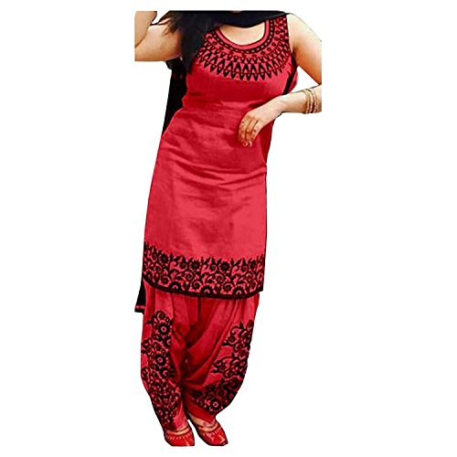 Suppar Sleave Women's Cotton Silk Salwar Suit Dress Material ( red _SalwarSuit_patiyala_UnStitched)