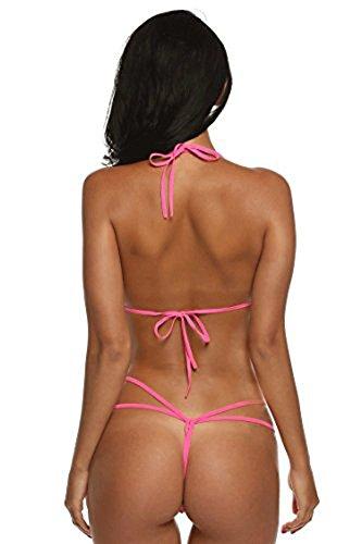 XUANYI Damen Spitze Dessous Strapsen Reizwäsche Lingerie Body Wäsche Neckholder Unterwäsche Tiefer V-Ausschnitt Negligee Rosa