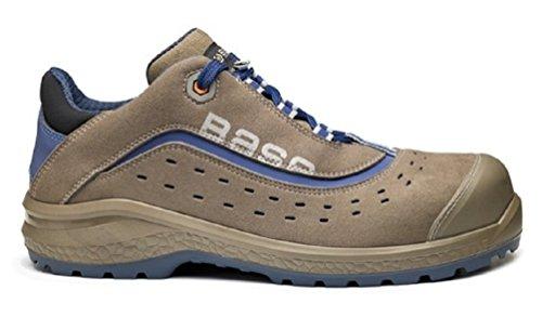 Base BO885Active S1P mens Classic Plus antiscivolo di sicurezza con lacci scarpe da ginnastica Marrone con inserti Blu alta visibilità