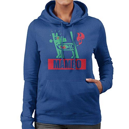 Mambo Farting Chili Green Dog Women's Hooded Sweatshirt Royal Blue