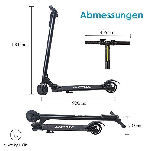 Elektroroller BEBK mit Samsung 4.4 Ah Batterie, Höchstgeschwindigkeit bis 23 km/h, Faltbar Licht Elektro Scooter für Jugendliche und Erwachsene (schwarz) - 4