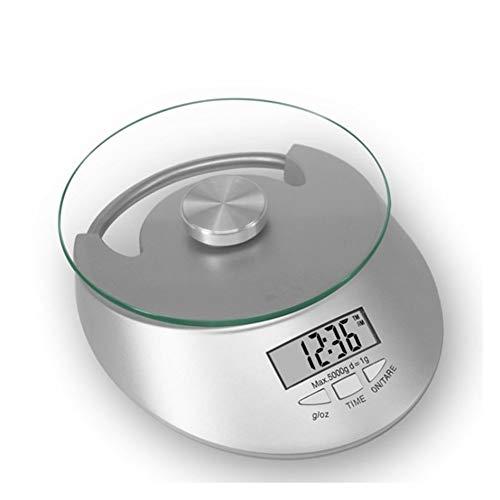 MLWTB Küchenwaage, digital, Multifunktions-LCD, Zeitanzeige, 11 kg, 5 kg (ohne Batterie) -