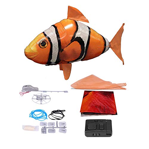 Alomejor Flying Shark Toy, aufgeblähter Ballon Shark Clown Fisch Air Swimmers Fernbedienung Flying Shark Toy(Orange ()