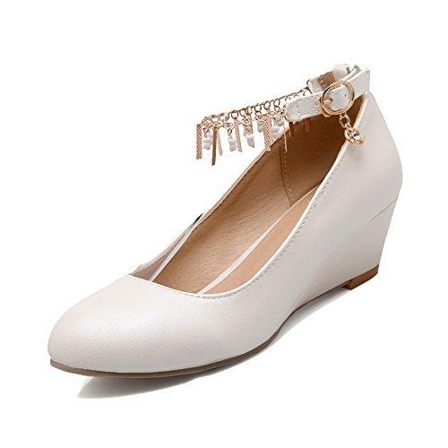 AgooLar Femme Rond Boucle Pu Cuir à Talon Correct Chaussures Légeres Blanc