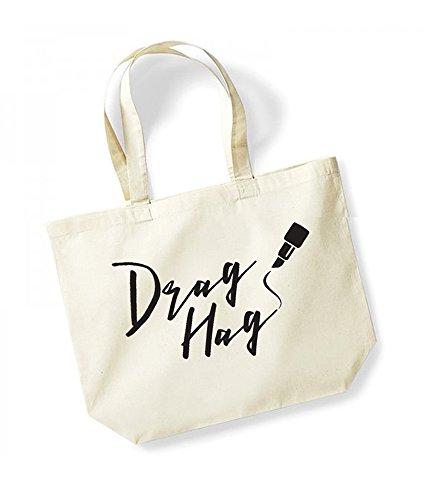 Drag Hag - Large Canvas Fun Slogan Tote Bag Natural/Black