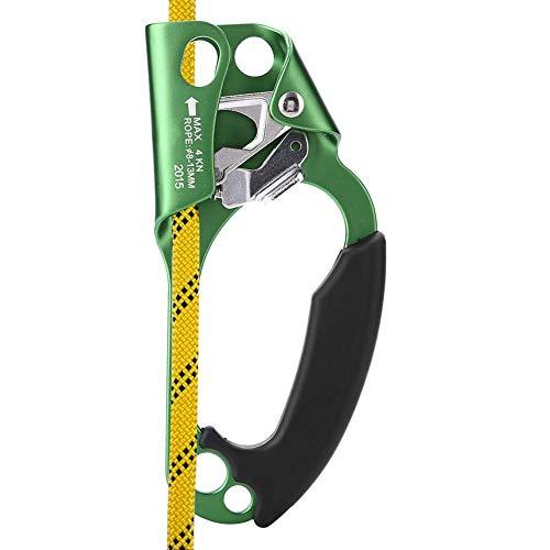 Dioche Klettern Ascender, Klettern Gerät Rechte Hand Kletterseil Griff Clamp für 8mm-13mm Seil Klettern Ausrüstung(Grün)