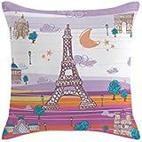Eiffel Baby Francia - Funda cojín, 40 x 40 cm, color malva / naranja