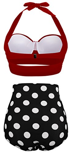 Angerella Damen Retro Stil Polka-Punkt mit hoher Taille Badeanzug Bikini Set (EU 46-48=Tag Size 5XL, Rot) -