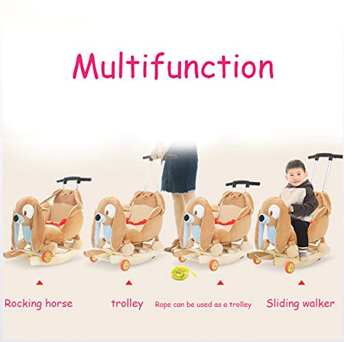 JTYX Bee Children Music Trojan Rocking Horse Baby Rocking Chair Solid Wood Rocking Cradles Birthday Gift JTYX ★ Convenient and practical: The product allows the baby to exercise, grasp, climb, kick, squat, shake, etc., so that the baby can play easily. ★Removable design: The seat cover is detachable, easy to clean, safe in material and does not fade. Made of solid wood and plush, it is more comfortable and safer to sit ★ Heightening base: Scientific anti-rolling, widening and heightening the base to keep the swing amplitude safe. 2