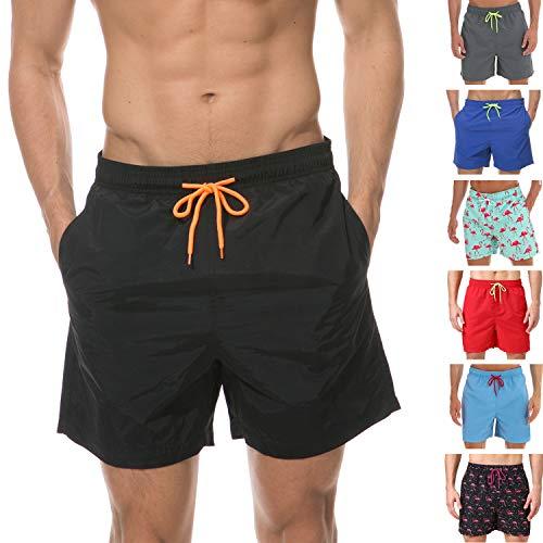 anqier Badeshorts für Männer Badehose für Herren Jungen Schnelltrocknend Schwimmhose Strand Shorts, Schwarz, S(EU)-MarkeGröße:L-Taille 76-84cm