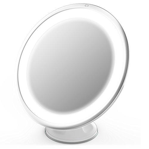 Jerrybox Espejo Plegable con Ventosa, Redondo | con Luz LED Ajustable y Aumento de 7x | Espejo de Baño Pequeño para Maquillaje, Cosmético y Afeitar| Espejo de Bolsillo como