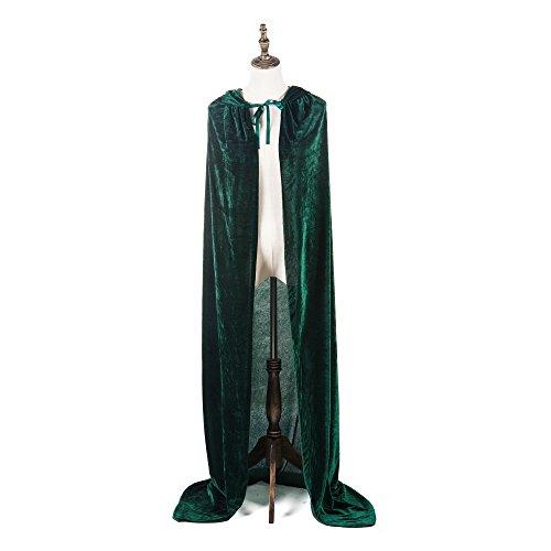 Erwachsene Halloween Kostüme Frauen Männer Cosplay Lange Umhang Cape Kostüm für Rollenspiel (dunkelgrün, 150 cm / 59