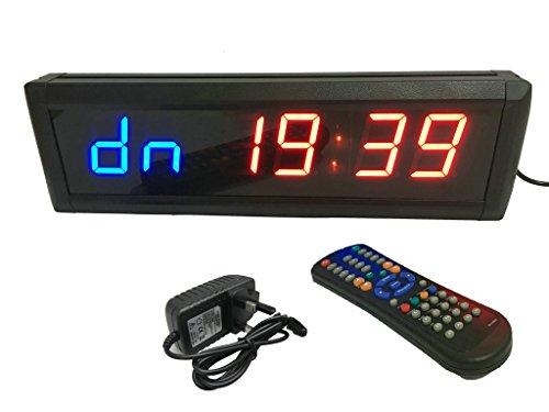 ganxin 4,6cm High 6Ziffern LED Countdown/bis Uhr für Crossfit Tabata/FGB, Gym Boxen, emom, MMA Alternate Intervall Timer, 12/24-Stunden Real Time Clock, Stoppuhr von Fernbedienung, Blau & Rot Farbe