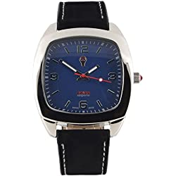 Swiss Emporio Men's Quartz Swiss Made Watch with Blue Dial Analogue Display and Black Leather Strap SE05BLSL10